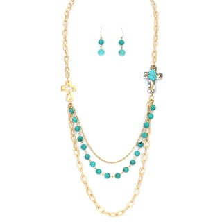 Gold 28-inch Multi-strand Layered Cross Necklace Set