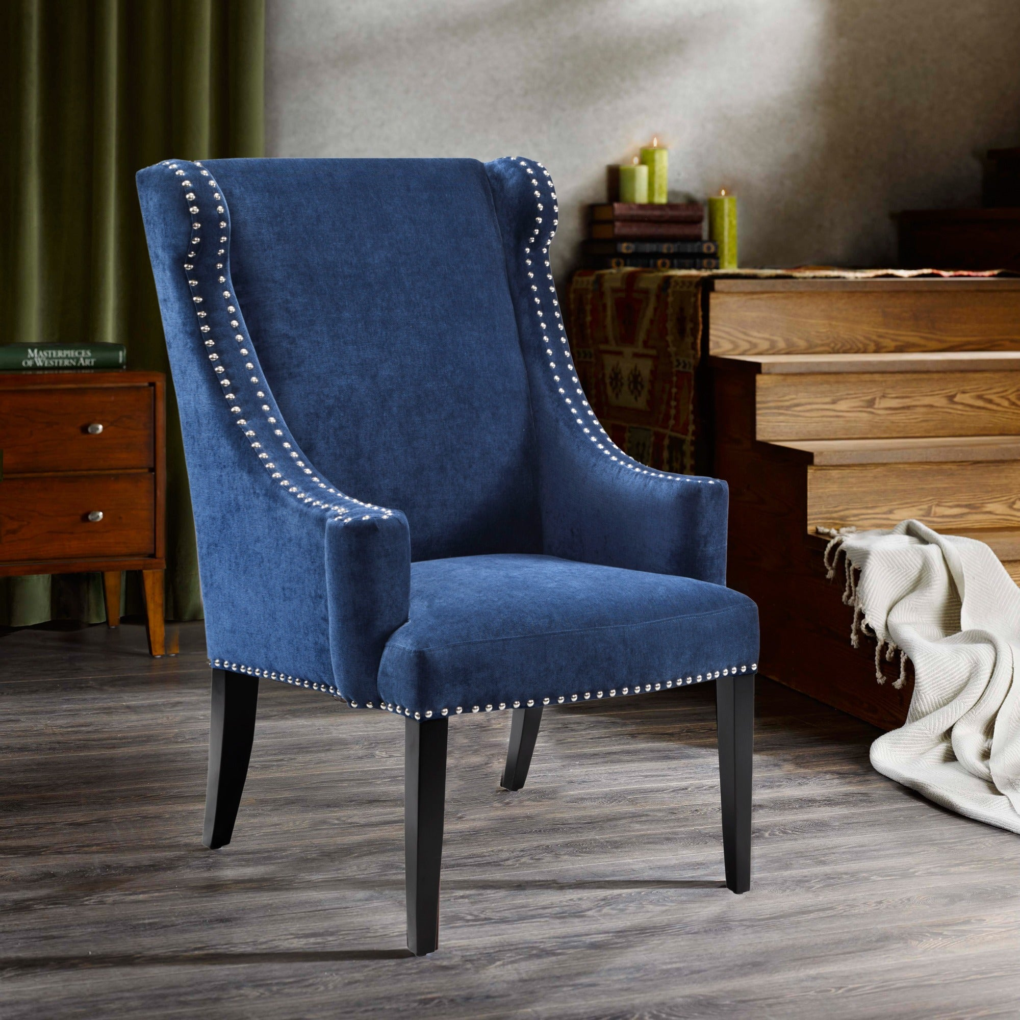 Madison Park Lucy Blue High Back Wing Chair 27 75 W X 29 5 D X 42 5 H
