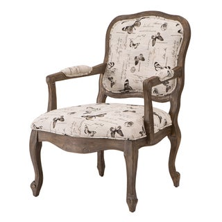 Madison Park Charlotte Camel Back Wood Arm Chair--Cream