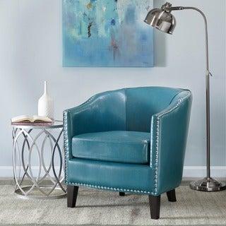 Madison Park Emery Shaped Barrel Arm Chair--Blue