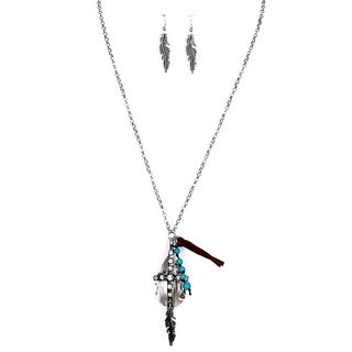 28-inch Silvertone Cross Charm Necklace and Earrings Set