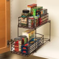 Seville Classics Bronze 2-Tier Sliding Basket Drawer Kitchen Counter and Cabinet Organizer