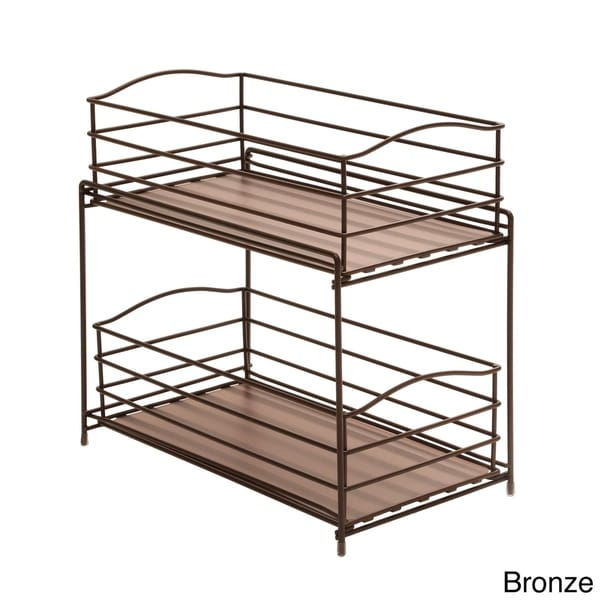 two tier kitchen drawer organizer seville classics 2 tier sliding basket cabinet organizer 8609