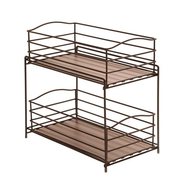 Seville Classics 2-Tier Sliding Basket Cabinet Organizer