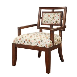 Madison Park Lily Cream/ Red Multi Exposed Wood Arm Chair