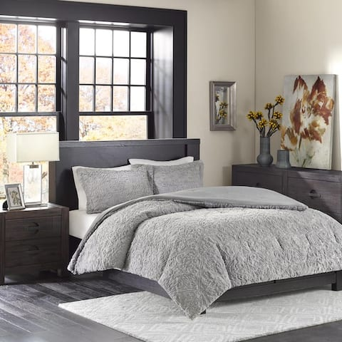 Madison Park Syracuse Grey Ultra Plush Comforter Set