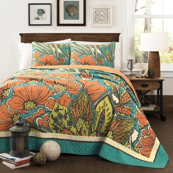 Lush Decor Elena Cotton Turquoise and Orange 3-Piece Quilt Set