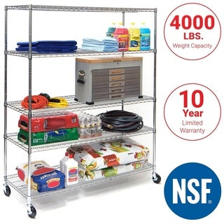 Seville Classics 5 Shelf, 24-Inch by 60-Inch by 72-Inch Shelving System with Wheels, NSF