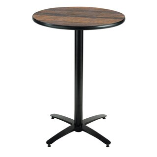 KFI Seating 36in Round Bar Height Pedestal Table, Arched X-Base