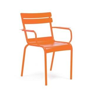 Chatou Orange Stackable Metal Arm Chair (Set of 4)