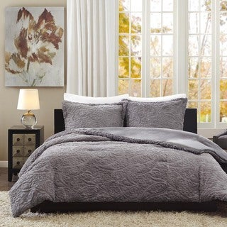 Madison Park Albany Grey Ultra Plush 3-piece Comforter Set