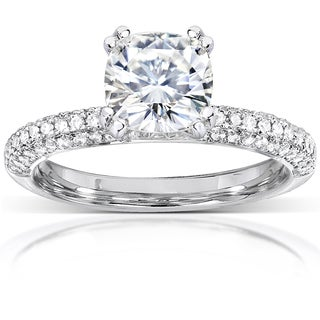 Annello by Kobelli 14k White Gold 2 1/4ct TGW Cushion Forever One DEF Moissanite and Diamond Micro Pave Engagement Ring