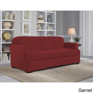 Tailor Fit Stretch Grid Slipcover T Sofa (Garnet)