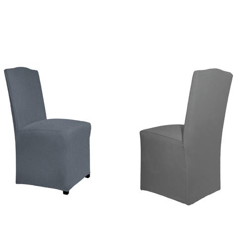 Tailor Fit Reversible Stretch Suede Slipcover Dining Chair Long