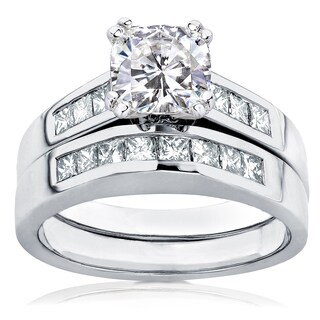 Annello by Kobelli 14k Gold Forever One Cushion 1 1/10ct Moissanite and 3/5ct TDW Channel Diamond Ri