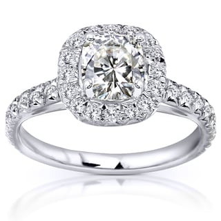 Annello By Kobelli 14k White Gold 1 1 2ct TGW Forever One Cushion Moissanite And Diamond Halo Engagement Ring