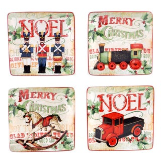 Certified International - Santa's Workshop 6-inch Canape Plates, Set of 4