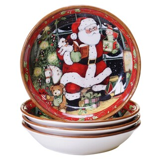 "Certified International - Santa's Workshop Soup and Pasta Bowls, 8.5""x 1.75"" (Set of 4) - 8.5""x 1.75"""