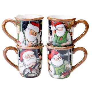 Certified International - Santa's Workshop 16 oz. Mugs (Set of 4)