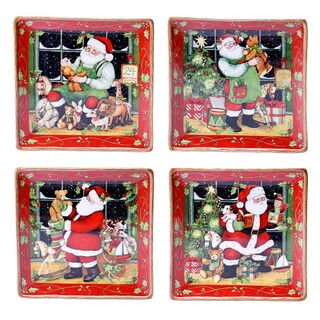 Certified International - Santa's Workshop 10.25-inch Dinner Plates (Set of 4)