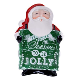 "Certified International - Chalkboard Christmas 3-D Platter Santa 16.75"" x 11.75"""