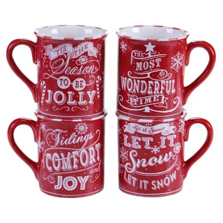 Certified International - Chalkboard Christmas 16 oz. Mugs, Red, Set of 4 Assorted Designs