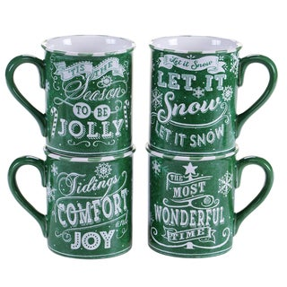 Certified International - Chalkboard Christmas Green 16 oz. Mugs,Set of 4 Assorted Designs