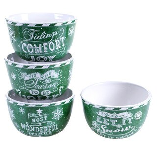 "Certified International - Chalkboard Christmas Green Ice Cream Bowls, 5.25"" x 3"", Set of 4 Assorted Designs"