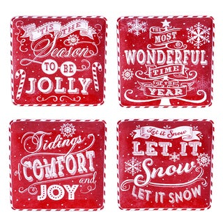 "Certified International - Chalkboard Christmas Red 8.25"" Dessert Plates, Set of 4 Assorted Designs"