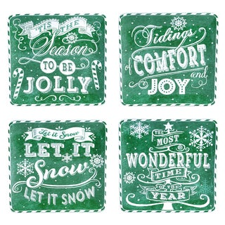 "Certified International - Chalkboard Christmas Green 8.25"" Dessert Plates, Set of 4 Assorted Designs"