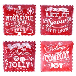 "Certified International - Chalkboard Christmas Red 10.5"" Dinner Plates (Set of 4)"