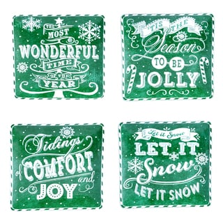 "Certified International - Chalkboard Christmas Green 10.5"" Dinner Plates (Set of 4)"