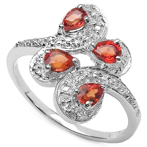 Malaika 0.80 Carat Genuine Orange Sapphire .925 Sterling Silver Ring