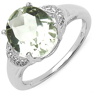 Malaika 3.16 Carat Genuine Green Amethyst & White Topaz .925 Sterling Silver Ring