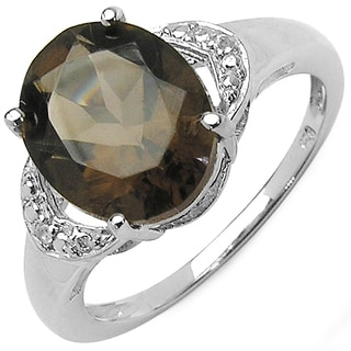 Malaika 3.00 Carat Genuine Smoky Quartz & White Topaz .925 Sterling Silver Ring