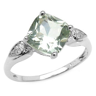 Malaika 2.16 Carat Genuine Green Amethyst & White Topaz .925 Sterling Silver Ring