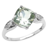 Malaika 2.16 Carat Genuine Green Amethyst & White Topaz .925 Sterling Silver Ring