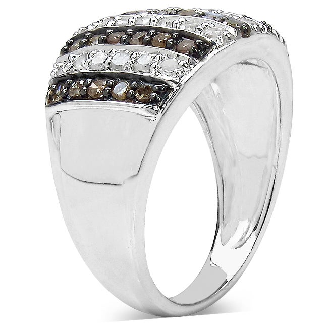 Genuine Black And White Diamond 925 Sterling Silver Spiral Ring Sizes 7 7.25 and 7.5