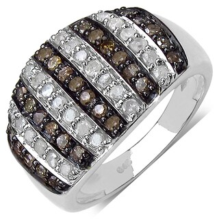 Malaika .925 Sterling Silver 0.83 Carat Genuine Champagne & White Diamond Ring ( I2-I3 )