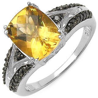 Malaika Sterling Silver 2 4/5ct TGW Citrine, Champagne and White Diamond Accent Ring