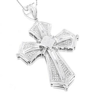 Luxurman 14k Gold 6ct TDW Diamond Cross Pendant (G-H, SI1-SI2)