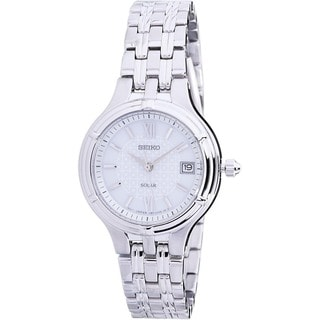 Seiko Women's Stainless Steel Patterned White Dial Solar Date SUT015 Watch