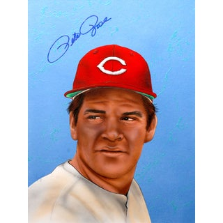 Gary Longordo Pete Rose Autographed Sport Memorbilia Painting
