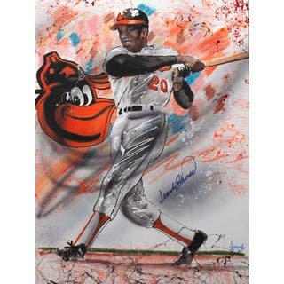 Frank Robinson Autographed Sports Memorabilia Painting by Gary Longordo|https://ak1.ostkcdn.com/images/products/10839696/P17881334.jpg?impolicy=medium