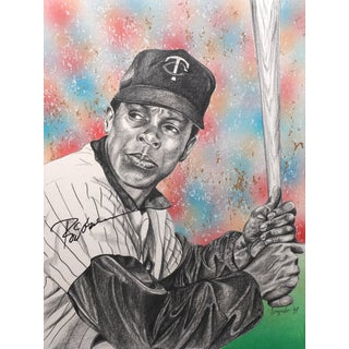 Rod Carew Autographed Sports Memorabilia Painting by Gary Longordo