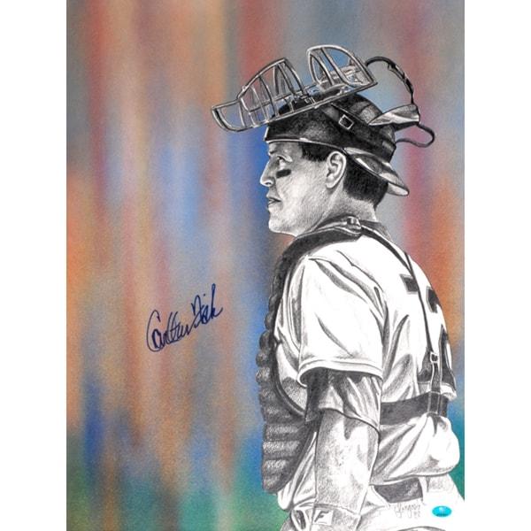 Carlton Fisk Autographed Sports Memorabilia Painting by Gary Longordo