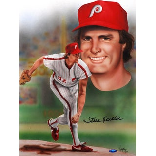 Gary Longordo Steve Carlton Autographed Sports Memorabilia Painting