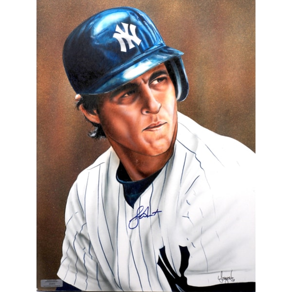 Bucky Dent Autographed Sports Memorabilia Painting by Gary Longordo