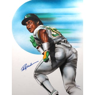Rickey Henderson Autographed Sports Memorabilia Painting by Gary Longordo