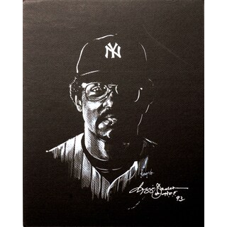 Autographed Gary Longordo Reggie Jackson Sports Memorabilia Painting